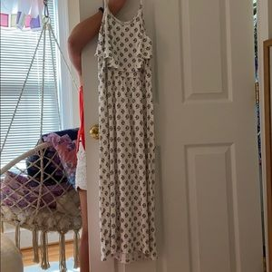 WORN ONCE Girls off White flower design maxi dress